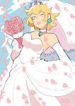1girl blonde_hair blue_eyes blue_sky bouquet bridal_gauntlets bridal_veil choker cowboy_shot crown dress flower mario_(series) nintendo petals princess_peach sky solo super_mario_bros. super_mario_odyssey tagme tokimekiwaku veil wedding_dress white_dress