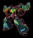 1boy absurdres artist_request black_background character_request clenched_hands full_body glowing green_eyes highres machine machinery mecha no_humans personification pose robot solo standing transformers