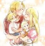 2boys 2girls baby blonde_hair blue_eyes blush brothers carrying child closed_eyes edward_elric eyebrows_visible_through_hair family father_and_daughter father_and_son floral_background fullmetal_alchemist grin happy long_hair looking_at_viewer mother_and_daughter mother_and_son multiple_boys multiple_girls open_mouth pink_background ponytail short_hair siblings smile spoilers tsukuda0310 winry_rockbell yellow_eyes