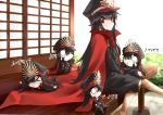5girls :d architecture black_hair black_pants black_shirt blush cape chibi demon_archer east_asian_architecture family_crest fate/grand_order fate_(series) hat highres japanese_clothes keikenchi_(style) koha-ace long_hair long_sleeves military military_hat military_uniform multiple_girls multiple_persona o_o oda_uri open_mouth pants peaked_cap red_cape red_eyes revision shirt shunichi sitting smile uniform v_arms