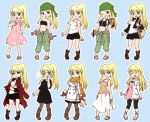 1girl bag black_dress black_skirt blonde_hair blue_background blue_eyes blush boots coat crying dress eyebrows_visible_through_hair fullmetal_alchemist gloves green_pants happy head_scarf jacket jacket_on_shoulders long_hair long_skirt one_eye_closed open_mouth orange_scarf pants pink_dress pink_shirt ponytail red_coat sad sandals scarf shirt skirt smile solo sparkle sparkling_eyes tank_top tears tsukuda0310 white_coat white_jacket white_shirt white_skirt winry_rockbell wrench
