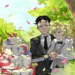 2boys black_hair blonde_hair blurry bow bowtie brown_eyes cake depth_of_field food formal green_eyes hand_on_another's_shoulder husband_and_husband knife male_focus multiple_boys necktie otabek_altin petals ponytail smile suit tree wavy_mouth wedding wedding_cake yaoi you_(gay322k) yuri!!!_on_ice yuri_plisetsky