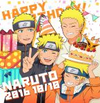 2016 5boys :d absurdres age_progression bandage bandaged_arm birthday_cake blonde_hair blue_eyes boruto:_naruto_the_movie box cake candle character_name dated facial_mark food forehead_protector gift gift_box grin happy_birthday hat highres jacket manjimaru_369 multiple_boys multiple_persona naruto naruto:_the_last naruto_shippuuden one_eye_closed open_mouth party_hat plate smile spiky_hair uzumaki_naruto v whisker_markings