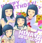 2016 5girls :d :o age_progression blue_hair blush boruto:_naruto_the_movie bouquet character_name closed_eyes dated flower hair_flower hair_ornament happy_birthday highres hyuuga_hinata jacket konohagakure_symbol lavender_eyes long_hair manjimaru_369 multiple_girls multiple_persona naruto naruto:_the_last naruto_shippuuden open_mouth rose short_hair smile sunflower