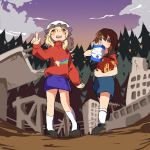 2girls background book cosplay dipper_pines dipper_pines_(cosplay) forest gravity_falls highres kapiten70 mabel_pines mabel_pines_(cosplay) maribel_hearn multiple_girls nature touhou usami_renko