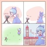 1girl blue_dress blue_hair camera cirno comic commentary dress english failure highres running scarlet_devil_mansion self_shot solo thumbs_up touhou viewfinder yoruny you're_doing_it_wrong