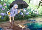 1girl achyue bag black_boots boots brown_eyes cat flower handbag holding holding_umbrella hydrangea leaning_forward long_hair outdoors path petals puddle purple_hair rain road shadow solo standing twintails umbrella vocaloid xingchen