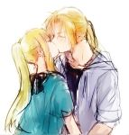 1boy 1girl black_ribbon black_shirt blonde_hair blue_shirt blush closed_eyes couple earrings edward_elric eyebrows_visible_through_hair fullmetal_alchemist hetero jacket jewelry kiss long_hair ponytail ribbon shirt sidelocks sketch sweatdrop tsukuda0310 upper_body white_jacket winry_rockbell