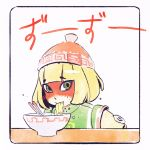 1girl arms_(game) blonde_hair chinese_clothes chopsticks eating facepaint food green_eyes hat ilya_kuvshinov looking_at_viewer min_min_(arms) noodles ramen short_hair simple_background solo