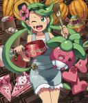 1girl ;d alola_form alolan_muk bangs bare_shoulders blush bounsweet bow breasts cake chocolate chocolate_on_face cocoa_bean cowboy_shot dark_skin exeggcute eyebrows_visible_through_hair flower food food_on_face green_eyes green_hair green_hairband green_outline hair_flower hair_ornament hairband heart holding holding_pot leaf long_hair looking_at_viewer luvdisc mao_(pokemon) one_eye_closed open_mouth overalls pink_bow pink_shirt poke_ball poke_ball_theme pokemon pokemon_(creature) pokemon_(game) pokemon_sm pot shirt sleeveless sleeveless_shirt small_breasts smile spatula standing star swept_bangs swirlix trial_captain twintails yuta0115
