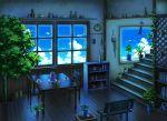 bench blue book bookshelf bottle cactus chair cup flower graphite_(medium) kettle mechanical_pencil mizuasagi original pencil plant plate potted_plant scenery shelf sky stairs summer table tea teacup traditional_media tree vase vines wind_chime window
