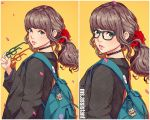 1girl badge black_choker brown_hair button_badge charm_(object) coat commentary copyright_name glasses glasses_removed green-framed_eyewear green_eyes holding holding_glasses keychain lace_choker lips long_sleeves looking_at_viewer magion02 maneki-neko ms.assistant original petals ponytail red_scrunchie scrunchie shadow shiny shiny_hair simple_background upper_body white_border yellow_background