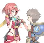 1boy 1girl breasts brown_hair covered_navel fingerless_gloves gloves gonzarez hair_ornament highres homura_(xenoblade_2) light_smile medium_breasts open_mouth red_eyes redhead rex_(xenoblade_2) short_hair simple_background white_background wide_hips xenoblade xenoblade_2