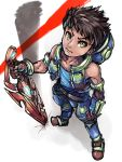 1boy black_hair boris_(noborhys) clenched_hand crotchless_pants from_above full_body highres looking_at_viewer male_focus rex_(xenoblade_2) short_hair simple_background sketch solo sword vest weapon white_background xenoblade xenoblade_2 yellow_eyes