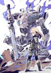 1girl armor assault_rifle blonde_hair blue_eyes breasts electricity gun knife mecha pilot pouch reverse_grip rifle robot rock size_difference small_breasts squatting sword sword_plant tajima_ryuushi titanfall titanfall_2 weapon white_background