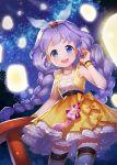 blue_eyes braid hair_ribbon jewelry lantern long_hair looking_at_viewer night open_mouth purple_hair ribbon solo sword_girls twin_braids