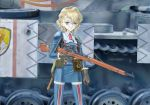 1girl blonde_hair bolt_action character_request edelweiss_(senjou_no_valkyria) green_eyes ground_vehicle gun hasegawa_takemitsu military military_vehicle motor_vehicle rifle senjou_no_valkyria short_hair tank weapon