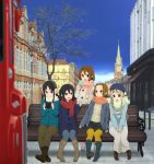5girls akiyama_mio anime_location bench blue_legwear boots bus casual coat double-decker_bus earmuffs food ground_vehicle hat highres hirasawa_yui horiguchi_yukiko ice_cream k-on! k-on!_movie kotobuki_tsumugi london motor_vehicle multiple_girls nakano_azusa official_art pantyhose scarf sitting smile tainaka_ritsu united_kingdom vehicle winter_clothes yellow_legwear