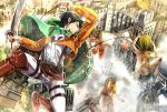 1boy action bird black_hair cape day dress_shirt dual_wielding green_cape highres holding holding_sword holding_weapon jacket levi_(shingeki_no_kyojin) military military_uniform open_clothes open_jacket orange_jacket outdoors pants shingeki_no_kyojin shirt sword three-dimensional_maneuver_gear titan_(shingeki_no_kyojin) uniform weapon white_pants white_shirt yuna_(rutera)