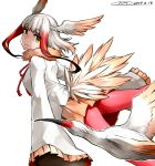 1girl bangs bird_tail blunt_bangs empty_eyes flying_sweatdrops gloves happa_(cloverppd) head_wings japanese_crested_ibis japanese_crested_ibis_(kemono_friends) kemono_friends long_hair long_sleeves multicolored_hair pantyhose pleated_skirt red_legwear redhead shirt simple_background skirt sleeves_past_wrists tail two-tone_hair white_background white_hair yellow_eyes