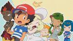 3boys 3girls behind_another black_hair blonde_hair blue_hair crying green_hair kaki_(pokemon) lillie_(pokemon) mamane_(pokemon) mao_(pokemon) multiple_boys multiple_girls npc npc_trainer orange_hair pikachu pink-hudy pokemon pokemon_(anime) pokemon_(creature) pokemon_(game) pokemon_sm pokemon_sm_(anime) popplio redhead satoshi_(pokemon) suiren_(pokemon) trial_captain