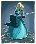 1girl adapted_costume angry bdsm blonde_hair blue_dress blue_eyes blush bound bound_wrists breasts chains dress elbow_gloves full_body gag gagged gem gloves high_ponytail highres large_breasts leash long_hair mario_(series) metroid nintendo panel_gag puffy_sleeves samus_aran skelebomb solo stone_floor super_mario_bros. sweatdrop zero_suit