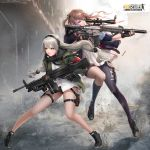 2girls black_gloves black_legwear black_shoes black_shorts blue_eyes brown_hair character_request fingerless_gloves girls_frontline gloves gun holding holding_gun holding_weapon john_law_bc kneehighs long_hair low-tied_long_hair mismatched_legwear multiple_girls one_eye_closed rifle shell_casing shoes shorts sneakers sniper_rifle spread_legs standing tagme thigh-highs thigh_strap trigger_discipline weapon yellow_eyes