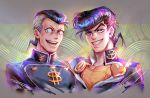 2boys anchor_symbol artist_name dollar_sign earrings facial_mark gakuran grey_hair grin heart higashikata_jousuke jewelry jojo_no_kimyou_na_bouken jostarjo male_focus multicolored_hair multiple_boys nijimura_okuyasu open_mouth peace_symbol pin pompadour purple_hair school_uniform shiny signature smile stud_earrings two-tone_hair yen_sign zipper
