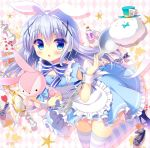 1girl alice_(wonderland) alice_(wonderland)_(cosplay) alice_in_wonderland animal_ears apron blue_dress blue_eyes blue_hair bow card chess_piece cosplay dress fake_animal_ears gochuumon_wa_usagi_desu_ka? hair_ornament hairclip hat hug kafuu_chino leaning_forward long_hair mary_janes open_mouth oversized_object playing_card pocket_watch rabbit_ears ribbon sasai_saji shoes spoon standing standing_on_one_leg striped striped_legwear stuffed_toy thigh-highs tippy_(gochiusa) top_hat watch