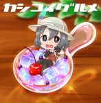 1girl bag black_gloves black_hair black_legwear blueberry blush chaki_(teasets) cherry chibi food fruit gloves hat hat_feather ice ice_cube kaban_(kemono_friends) kemono_friends leaf looking_at_viewer open_mouth red_shirt sad scared shirt short_hair short_sleeves shorts solo spoon sweat text wavy_mouth wooden_table