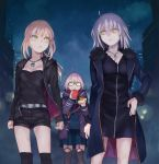 3girls ahoge belt black_dress blonde_hair breasts cleavage clenched_hand coat commentary dark_persona dress drinking excalibur food fur_trim glasses grey_hair hamburger hand_on_hip heroine_x heroine_x_(alter) hood hooded_jacket jacket jeanne_alter jewelry looking_at_another multiple_girls night red_scarf ruler_(fate/apocrypha) saber saber_alter scarf school_uniform semi-rimless_glasses shorts thigh-highs urayamashiro_(artist) yellow_eyes