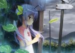 1girl antenna_hair blush bus_stop cattail clouds commentary_request flower hair_ribbon ladybug long_hair miyauchi_renge mountain non_non_biyori outdoors plant power_lines purple_hair rain red_eyes ribbon road_sign scenery short_sleeves sign solo sunflower telephone_pole twintails wet wet_clothes zimajiang