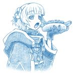 1girl bangs bbb_(friskuser) blunt_bangs cloak commentary_request eyebrows_visible_through_hair food gloves greyscale hair_ornament holding holding_food hood hood_down hooded_cloak hot_dog looking_at_viewer meteora_osterreich monochrome open_mouth ponytail re:creators solo upper_body white_background