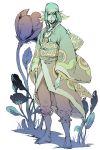 1boy bandana barefoot facepaint flower japanese_clothes jewelry kimono kuku_hayate kusuriuri_(mononoke) long_hair mononoke necklace obi pointy_ears solo