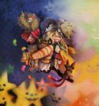 broom candy cat halloween hat highres jack-o'-lantern jelly_bean kaenbyou_rin kaenbyou_rin_(cat) kirisame_marisa long_hair orange_legwear pumpkin ribbon ribbons ruto_(petatann) shanghai_doll socks star stars thighhighs touhou witch yellow_eyes