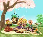 alcohol bad_id bucket cherry_blossoms drinking everyone food horn hoshiguma_yugi hoshiguma_yuugi in_bucket in_container kaenbyou_rin kaenbyou_rin_(cat) kisume komeiji_koishi komeiji_satori kurodani_yamame michii_yuuki mizuhashi_parsee multiple_girls picnic pouring reiuji_utsuho reiuji_utsuho_(bird) sakazuki star touhou