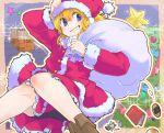 blue_eyes book christmas christmas_tree cookie cookies fairy food grin hand_on_hat kirisame_marisa long_hair looking_back rotan sack santa_costume smile sparkle star stars touhou
