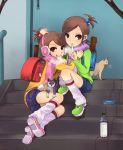:p backpack bag breath cat earmuffs futami_ami futami_mami idolmaster leg_warmers masaki_(celesta) multiple_girls nonowa randoseru scarf siblings sisters stairs steps tongue twins