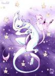 mew mewtwo no_humans pokemon pokemon_(creature) stars