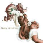 christmas dress drill_hair feldt_grace green_eyes gundam gundam_00 izumo_(pixiv362913) lipstick lying pink_hair short_dress solo thigh-highs thighhighs twintails