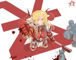 axe blonde_hair blood chaos_(warhammer) chaos_space_marine circle_a genderswap green_eyes heresy khorne space_marines warhammer_40k weapon