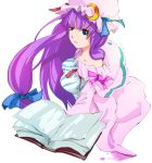 blue_eyes book breasts dain hair_ribbon hair_ribbons hat long_hair patchouli_knowledge purple_hair ribbon ribbons touhou