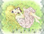 barefoot blonde_hair blue_eyes blush dress hanamoto_hagumi honey_and_clover long_hair lying maki_(natoriumu) maki_(pixiv) notebook