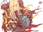 blonde_hair blood chaos chaos_(warhammer) chaos_space_marine circle_a decapitation genderswap head helmet heresy red_eyes warhammer_40k
