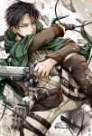 1boy black_hair boots brown_boots brown_jacket cape dress_shirt dual_wielding green_cape grey_pants grey_shirt holding holding_sword holding_weapon jacket kaya_(hydego) levi_(shingeki_no_kyojin) military military_uniform open_clothes open_jacket pants shingeki_no_kyojin shirt solo sword three-dimensional_maneuver_gear uniform weapon