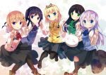 5girls angora_rabbit animal bangs black_hair black_hairband black_legwear black_shoes black_skirt blonde_hair blue_bow blue_bowtie blue_eyes blue_vest blush boots bow bowtie breasts brown_boots buttons closed_mouth collared_shirt commentary_request everyone eyebrows_visible_through_hair gochuumon_wa_usagi_desu_ka? green_bow green_bowtie green_eyes green_vest hair_ornament hairband hairclip hand_holding highres hoto_cocoa interlocked_fingers kafuu_chino kirima_sharo kneehighs light_blue_hair long_hair long_sleeves looking_at_viewer mokachino multicolored multicolored_background multiple_girls open_mouth orange_hair pantyhose pink_vest purple_bow purple_bowtie purple_hair purple_vest rabbit rabbit_house_uniform red_bow red_bowtie shirt shoes short_hair sidelocks skirt small_breasts smile star tedeza_rize tippy_(gochiusa) twintails ujimatsu_chiya uniform vest violet_eyes white_shirt wing_collar x_hair_ornament yellow_bow yellow_bowtie yellow_vest