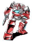 1boy 80s artist_request autobot blue_eyes clenched_hands full_body gun highres holding holding_gun holding_weapon ironhide looking_at_viewer machine machinery mecha no_humans oldschool open_mouth outdoors personification pose robot simple_background solo standing transformers weapon