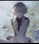 1boy arms_behind_back black_shirt blindfold cipactli coat fabri facing_viewer letterboxed open_mouth original pixiv_fantasia pixiv_fantasia_t road shirt solo street striped_coat suitcase white_hair wind