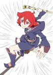 1girl ahoge arai_hiroki belt boots broom broom_riding chariot_du_nord closed_mouth emphasis_lines female flying full_body hair_between_eyes highres holding holding_staff hood hood_down hoodie little_witch_academia long_sleeves looking_at_viewer matching_hair/eyes red_eyes redhead robe shiny_chariot shiny_rod short_hair smile solo staff standing_on_broom white_background wide_sleeves witch