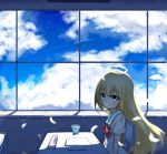 1girl aqua_eyes artist_request blonde_hair chair classroom clouds cloudy_sky desk feathers gabriel_dropout glass halo highres looking_at_viewer paper pencil pencil_case school_uniform serafuku sitting sky smile solo star_(sky) starry_sky tenma_gabriel_white